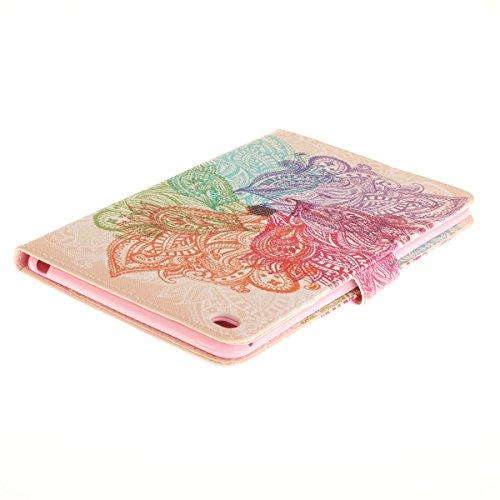 Funda para iPad Mini, Flip funda de cuero PU para iPad Mini 1 / 2 / 3, iPad Mini Leather Wallet Case Cover Skin Shell Carcasa Funda, Ukayfe Cubierta de la caja Funda protectora de cuero caso del sopor Flores de colores