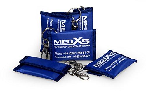 Medx5 5x CPR Beatmungstuch Notfallbeatmungsmaske Notfallmaske Beatmungsmaske Taschenmaske Pocketmaske mit Zubehör und Ersthelfer-Anleitung
