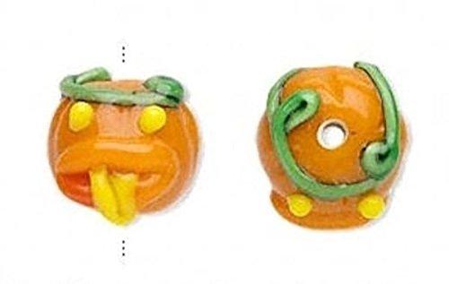 4 Lampwork Glass Orange Pumpkin with Tongue Halloween