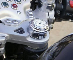 Stem Nut Mount Clock - Stem Nut Clock for Metric Motorcycles, WHITE dial