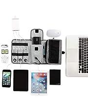 Uonlytech Kabelarrangör väska elektronik arrangör resekabel arrangör väska kabel förvaringsväska för USB-kabel (1 st grå)