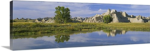 Canvas On Demand Premium Thick-Wrap Canvas Wall Art Print entitled Reflection of mountains in water, Palmer Creek Unit, Badlands National Park, South Dakota 60