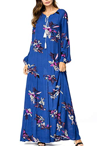 (UAime Muslim Dress for Women Kaftan Long Sleeve Casual Maxi Dress Dubai Muslim Abaya Long Gown Long)