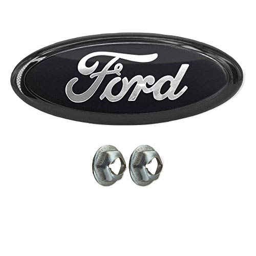 "Achoc Black Silver Badge or Tailgate Emblem with nuts, Oval 9""X3.5"", 3 Mounting Tabs, Front Grill Badge Name Plate for Ford F150 Also Fits 05-07 F250 F350 11-14 Edge 11-16 Explorer 06-11 Ranger"