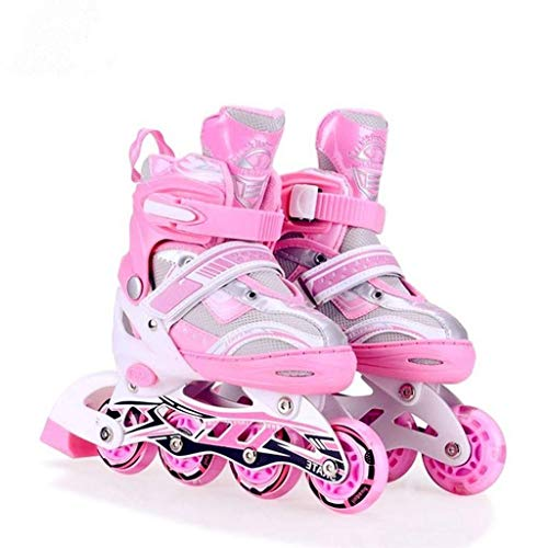 Abhsant Kid's Inline 4 Wheeler Body in-Line Skates with Adjustable Length (Pink Colour) Price & Reviews