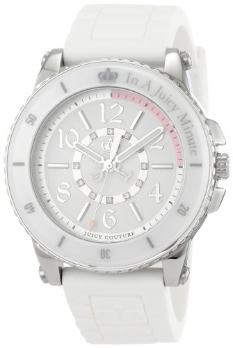 (Juicy Couture Women's ' Pedigree Quartz Stainless Steel and Rubber Casual Watch, Color:White (Model: 1900788)