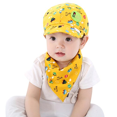 Pinafore Set (Tpingfe Baby Toddler Boys And Girls Cartoon Hat + Infant Pinafore Bib Set Outfit, 2PCS (Yellow))