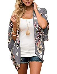 Women Floral Kimono Cardigans Chiffon Casual Loose Open Front Cover Up Tops