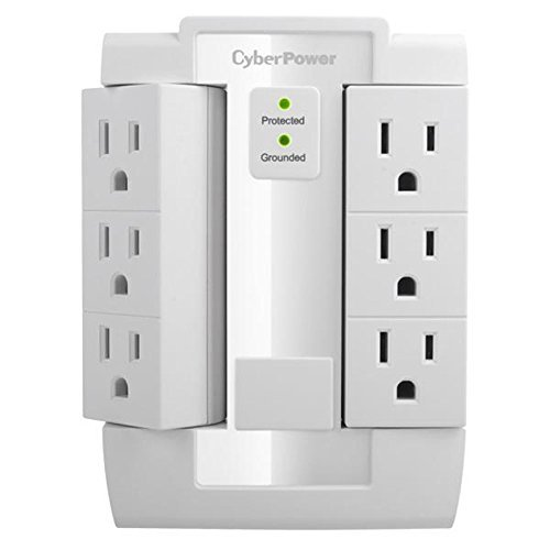 CyberPower Systems,6 Outlet Swivel Wall Surge Protector 2100 Joules - White