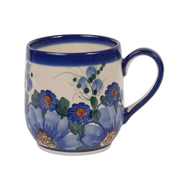 Traditional Polish Pottery, Handcrafted Ceramic Tulip-shaped Mug (300ml / 10.5 fl oz), Boleslawiec Style Pattern, Q.901.PASSION