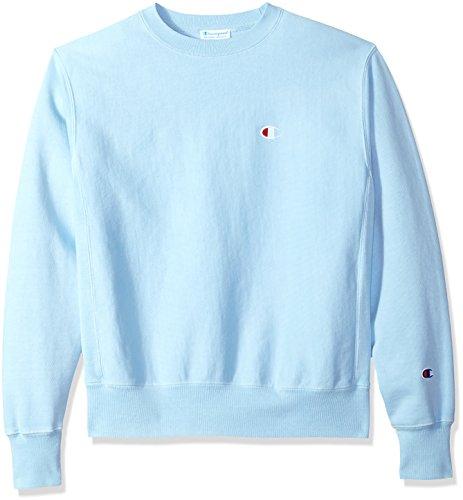 Champion LIFE Men's Reverse Weave Sweatshirt, Upstate Blue Pigment Dyed, (Washed Logo Mens Hoodie)