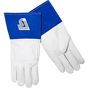 Steiner 0222M TIG Gloves, Premium Grain Kidskin Unlined 4-Inch Blue Cuff Wing Thumb, Medium