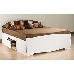 Prepac 6 Drawer Platform Storage Bed, White, Queen