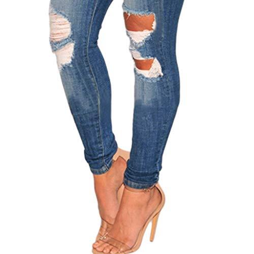 Pantalones de elásticos para RXF Cintura Jeans Vaqueros Azul Alta Mujer vPwqngBd