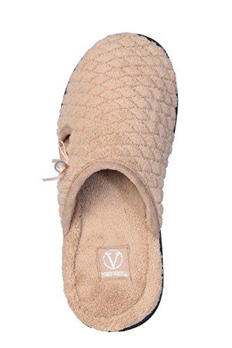 Joan Vass Womans Pantofole In Spugna Trapuntata Con Fiocco E Design A Medaglione Beige Dorato