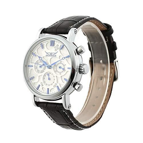 Jaragar completo automático reloj mecánico moda correa de cuero negocio reloj: Amazon.es: Relojes