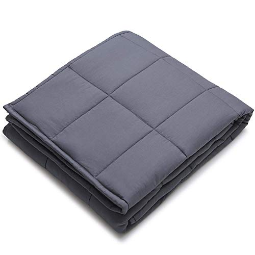 YnM Weighted Blanket (15 lbs, 60''x80'', Queen Size) | Gravity 2.0 Heavy Blanket | 100% Cotton Material with Glass Beads | Great Sleep Therapy for People with Anxiety, Autism, ADHD, Insomnia or Stress