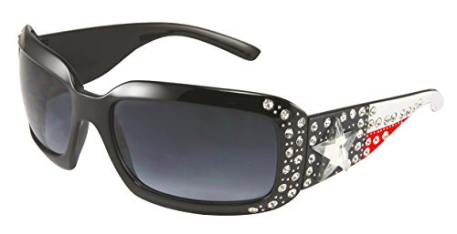 - Ladies Sunglasses Texas Flag Rhinestone Lone Star Concho Red White Blue (Bright Red, Black)