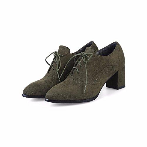 Cashmere Altos Suede Tacones Green Zapatos Zapatos de Esmerilado Femeninos Calzados Señaló de Tacón 4Bnz4Fq7w