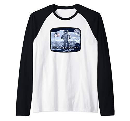 Moon Landing Conspiracy  Area 51 Live TV Broadcast Fake Hoax Raglan Baseball Tee