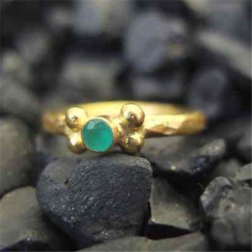 Ancient Design Handmade Hammered Band Emerald Stack Ring 22K Gold over 925 Sterling Silver