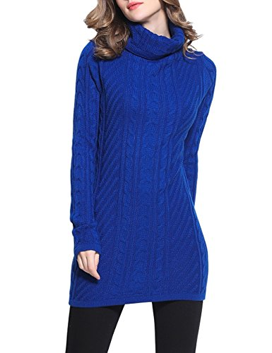 Rocorose Women's Turtleneck Autumn Elegant Ribbed Long Sweater Blue L (Ribbed Poncho)