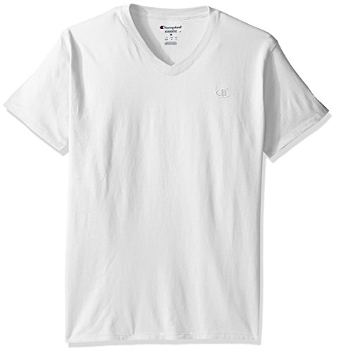 Jersey Running Basketball (Champion Men's Classic Jersey V-Neck T-Shirt, White, L)