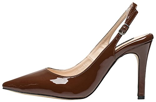 Shoes Brown Slingbacks (AnnaKastle Womens Pointy Toe Stiletto Heel Patent Slingback Pumps Dress Shoes)