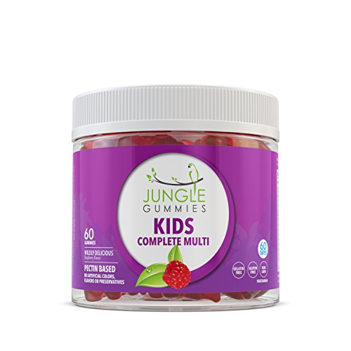 Non Gelatin (Jungle Gummies | Kids Multivitamin | Natural Health Supplement with Vitamin B12, Folic Acid, Biotin and Vitamin D | Fun Gummy Bear Shapes! | Gelatin Free, Non-GMO, Gluten Free, Allergen Free | 60 Gumm)