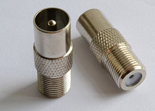 TV PAL Male (Plug) / CCTV to F Female (socket) High Resolution Adaptor / Connector, 2-Pieces
