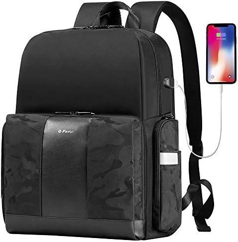 Travel Laptop Backpack, Business Laptops Backpack with USB Charging Port for Women Men, Water Resistant College School Computer Bag Fits 15.6 17.3 Inch Laptop-G-FAVOR, Black
