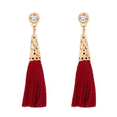 Long Red And Gold Earrings Classic Rhinestone Fashion Ethnic Element Tassel Drop Beautiful Jewelry Charm