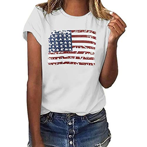 Women July Fourth T-Shirt National Flag Independence Day Print Short Sleeve Tops