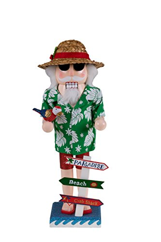 Traditional Beach Santa Claus Wooden Christmas Nutcracker by Clever Creations | Festive Holiday Decor | Wearing Hawaiian Shirt & Straw Hat | Holding a Parrot | 100% Wood | 14