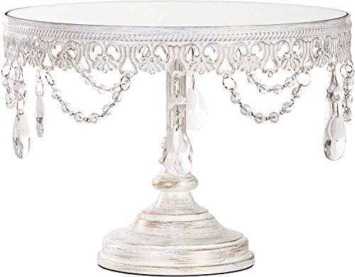 Amalfi Decor 10 Inch Cake Stand, Dessert Cupcake Pastry Candy Display Plate for Wedding Event Birthday Party, Round Metal Pedestal Holder with Crystals, Whitewashed