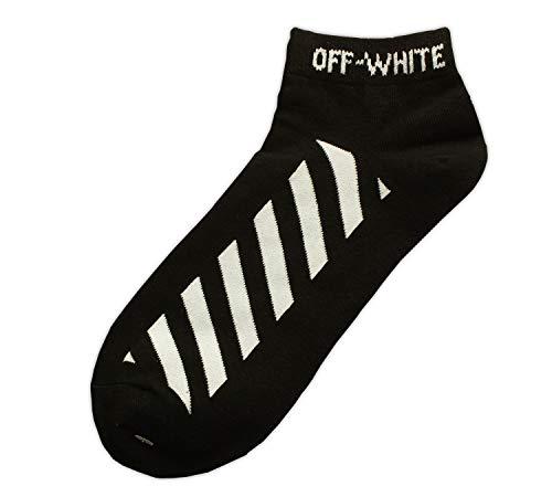 16ce6d541f6b Off White Virgil Abloh C O Diagonal Stripe Lines Ankle Socks Black Color