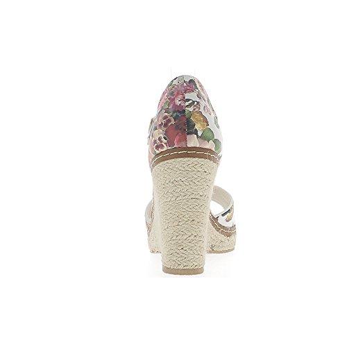 Blanco compensado mujer zapatillas con tacón 10cm cuero estampado mirada