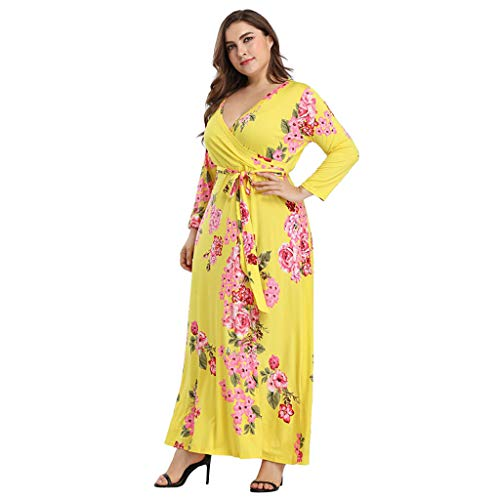 (Women Floral V Neck Sashes Plus Size Long Sleeve Beach Maxi Long Dress)