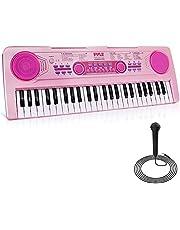 $49 » Pyle, Electric Keyboard 61 Keys-Portable Digital Musical Karaoke Piano Keyboard-10 Rhythms 16 Tones, Stereo Speakers, Rechargeable Battery-Wired Microphone-Beginners Kids Adult (PKBRD6112)