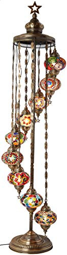 DEMMEX - 9 Big Globes Turkish Moroccan Mosaic Floor Lamp Light, Bohemian Boho Tiffany Mosaic Floor Lamp with North American Plug & Socket, 65