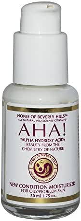 New Condition Moisturizer For Oily / Problem Skin All Natural With Alpha Hydroxy Acids, Tea Tree Oil, Lavender Oil, Organic Apple Cider Vinegar Safe Around The Eyes By Nonie of Beverly Hills 1.75oz GLASS Jar