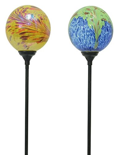 Moonrays 91860FD Fireburst & Peacock Swirled Glass Stake Lights 16 Count