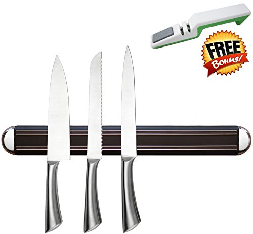 "Highest Quality 16"" MAGNETIC KNIFE HOLDER/Strip by Inspired Home Living - High Energy Magnets - Knives Stay Firmly In Place - Don"