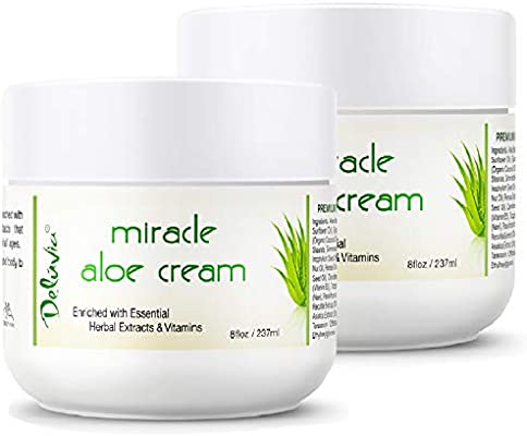 Miracle Aloe Vera Moisturizing Cream Face and Body Moisturizer Lotion Day and Night Hydrating Soothing Skin Care for Dry, Aging, Sensitive Skin, Eczema, Psoriasis for Men and Women 2 Pack By Deluvia