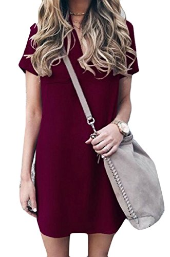 Jaycargogo Womens V Cou À Manches Courtes Solide Plage Casual Mince Robe Midi Vin Rouge