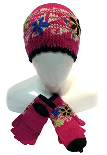 Price comparison product image Alpaca Women's Wool SET Fleece-Lined Hat & Texting Fingerless Gloves Hooded Mittens
