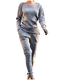 Vska Womens Casual O-Neck Long-Sleeve Knitting Tracksuits Outfit
