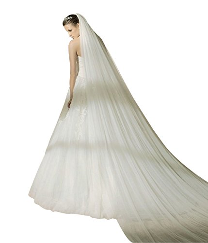 Ivory Cathedral Bridal Wedding Veil (Bridal Wedding Veil 2T Trailing Long Cut Edge with Comb-V37 Ivory)