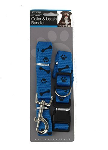 Paw & Bone Print Collar & Leash Bundle Set (Leash Measures Approximately 47