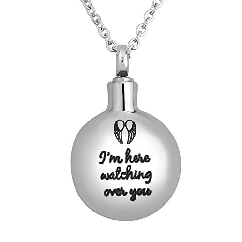 CLY Jewelry Urn Necklace for Ashes Circular Angel Wings Pattern Pendant Necklace I Am Here Watching Over You Cremation Jewelry for Women Men Feather Memorial Keepsake for Beloved Family Dad - Circular Necklace